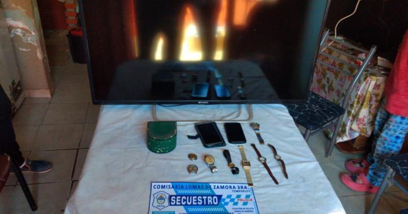 Encontraron una TV  celulares y relojes de la víctima