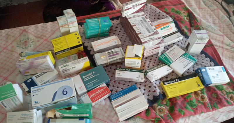 Algunas remedios que donaron al merendero para la comunidad