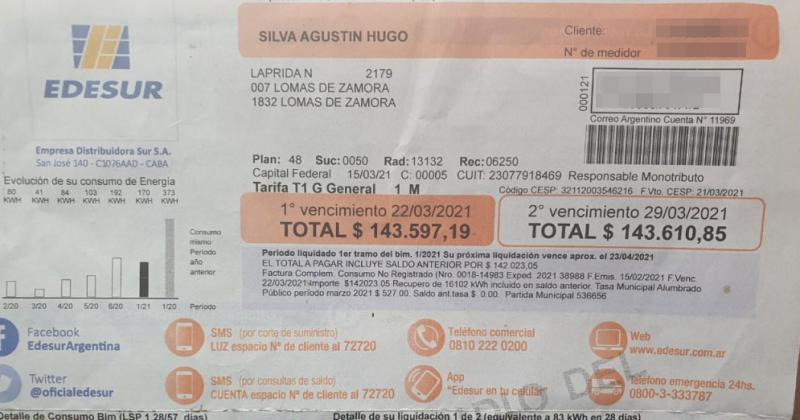 Hugo solía pagar entre 2500 y 3000 mensuales